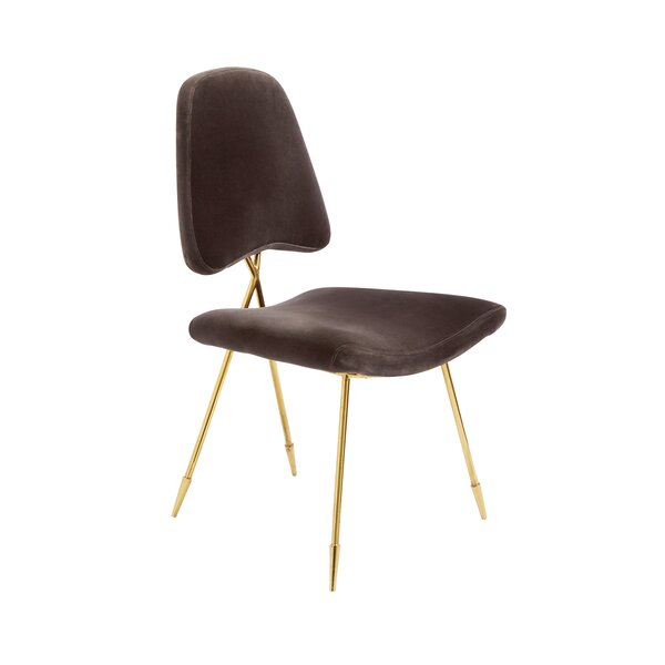 Cotton Upholstered Side Chair In Charcoal By Jonathan Adler