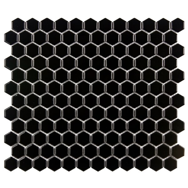 Retro 1 x 1 Porcelain Mosaic Tile in Glossy Black by EliteTile