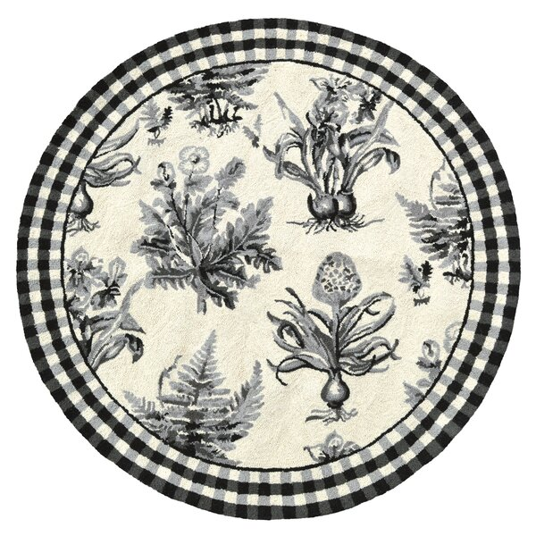 Floral Botanical Hook Black / White Area Rug by 123 Creations