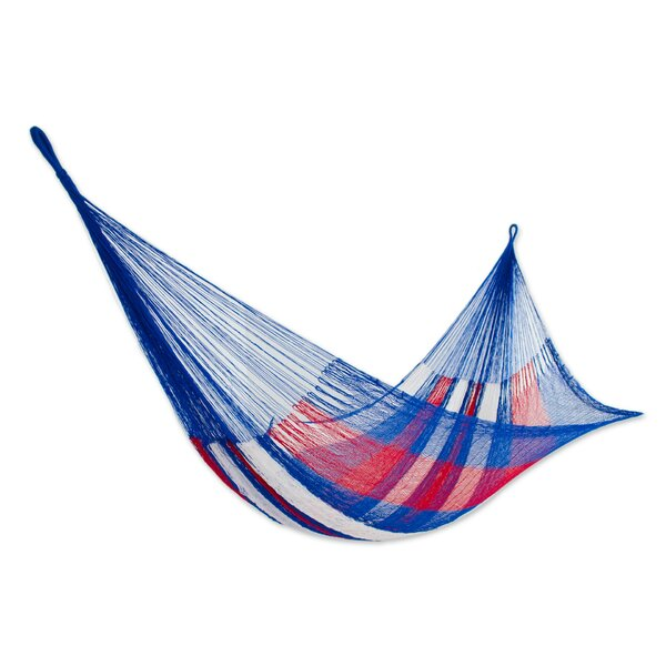 Patriotic Rope Double Nylon Tree Hammock by Novica