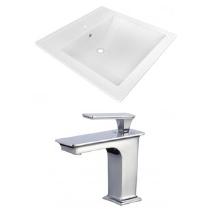 Compare prices 1 Hole Ceramic Rectangular Drop-In Bathroom Sink with Faucet and Overflow ByAmerican Imaginations