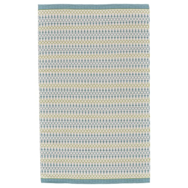 Pina Flat Woven Wool Turquoise/Lime Area Rug by Union Rustic
