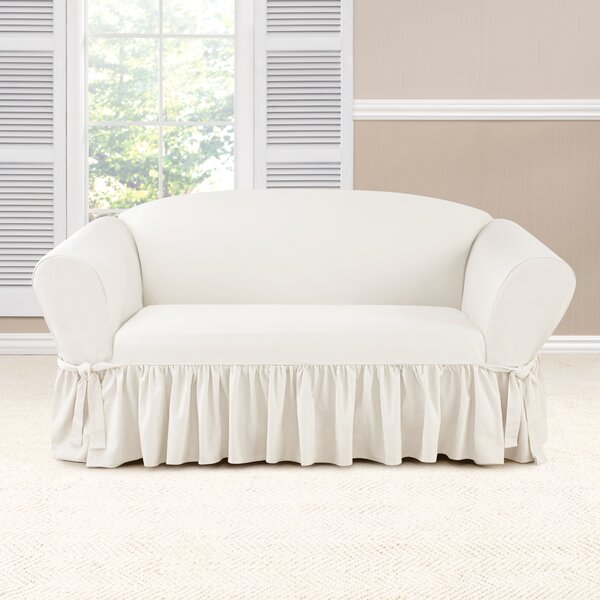 Essential Twill Box Cushion Loveseat Slipcover By Sure Fit