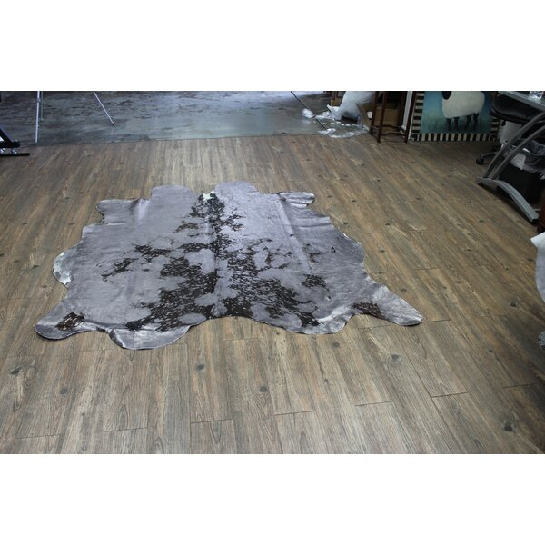 One-of-a-Kind Chagoya Hand-Woven Cowhide Gray Area Rug by Brayden Studio
