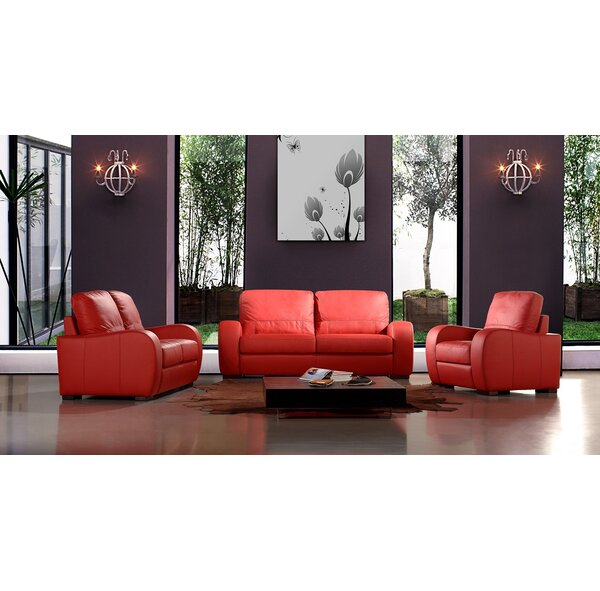 Savana 3 Piece Leather Living Room Set by Hokku Designs