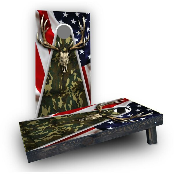 Camouflage Deer Mount with Flag Background Cornhole (Set of 2) by Custom Cornhole Boards