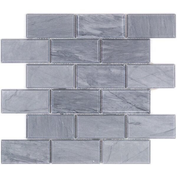 2 x 4 Beveled Marble Mosaic Tile in Dark Gray by Splashback Tile