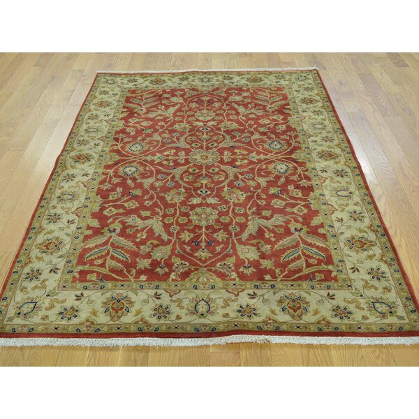One-of-a-Kind Booker Tabriz Revival Hand-Knotted Red Wool Area Rug by Isabelline