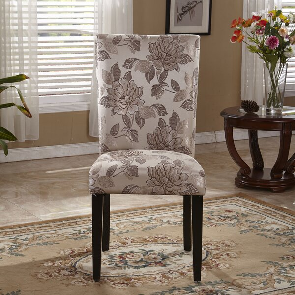 Elegant Floral Parsons Upholstered Dining Chair (Set of 2) by Bellasario Collection