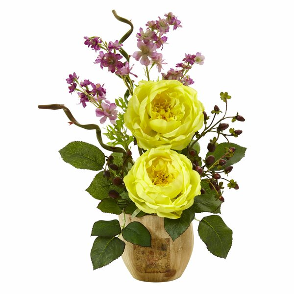 Rose/Dancing Daisy Floral Arrangement in Pot by Nearly Natural