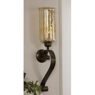 Reitman Glass and Metal Wall Sconce  sc 1 st  Wayfair & Metal Candle Sconces Youu0027ll Love | Wayfair