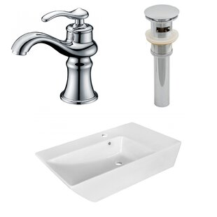 Buying Ceramic Rectangular Vessel Bathroom Sink with Faucet and Overflow ByAmerican Imaginations