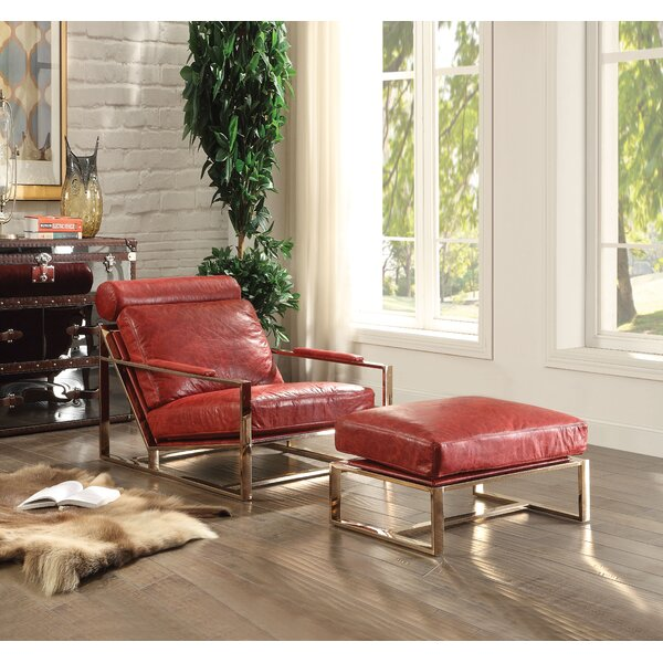 Everly Quinn Leather Ottomans