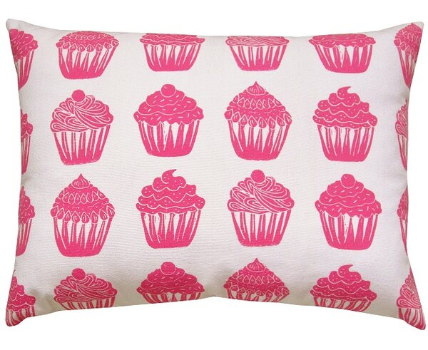 Cupcake All Over Pattern Block Print Accent Cotton Throw Pillow by Artgoodies
