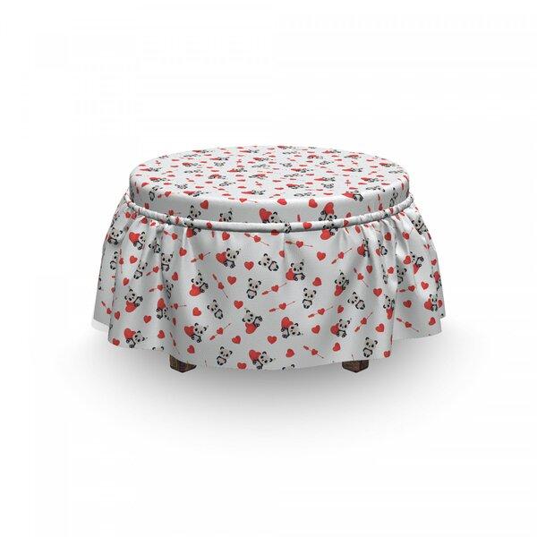 Love Panda 2 Piece Box Cushion Ottoman Slipcover Set By East Urban Home