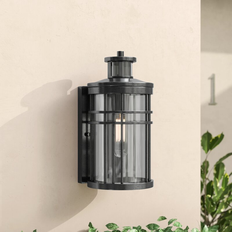 Brayden Studio Sathvik Outdoor Wall Lantern With Motion Sensor