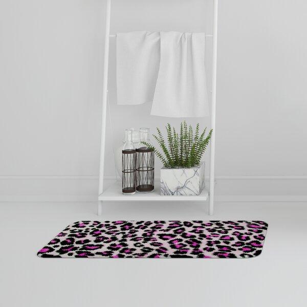 Biscoe Fluffy Leopard Designer Rectangle Non-Slip Animal Print Bath Rug