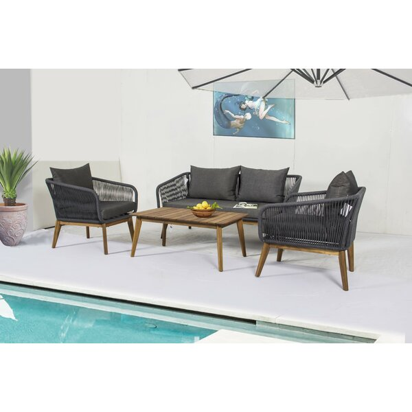 Quandro 4 Piece Sofa Seating Group with Cushions by Bungalow Rose