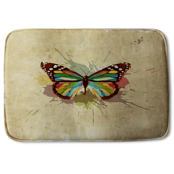 Andromaches Butterfly and Paint Splats Designer Rectangle Non-Slip Bath Rug