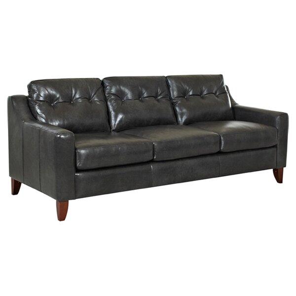 Waldman Tufted Leather Sofa by Ebern Designs