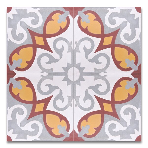 Agadir 8 X 8 Handmade Cement Tile in Multicolor by Moroccan Mosaic