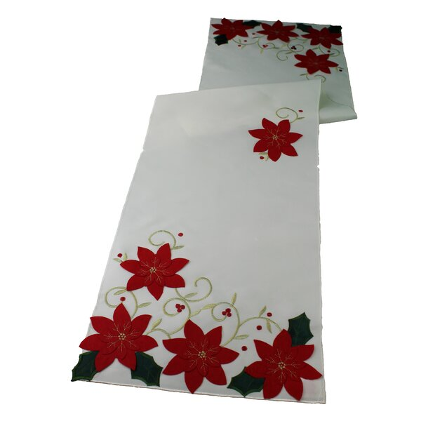 Poinsettias Holiday Christmas Decorative Table Runner by Violet Linen