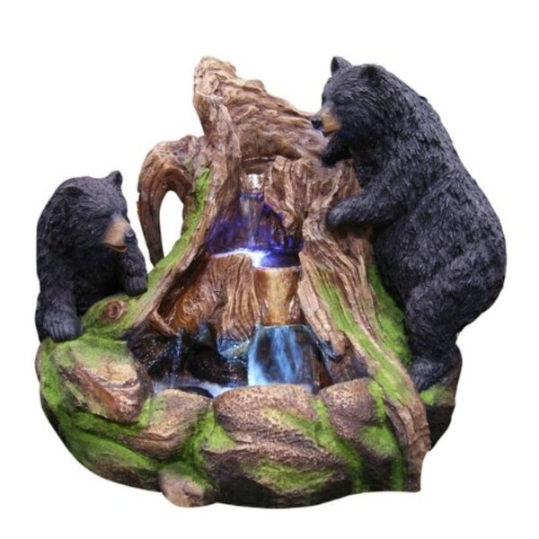 2 Bears Climbing Fountain with LED Light by Benzara