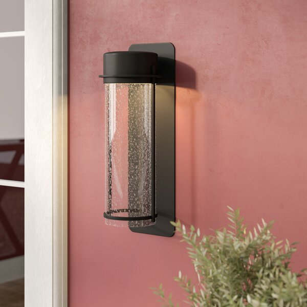 Janke 1-Light Glass Shade Outdoor Sconce by Latitude Run