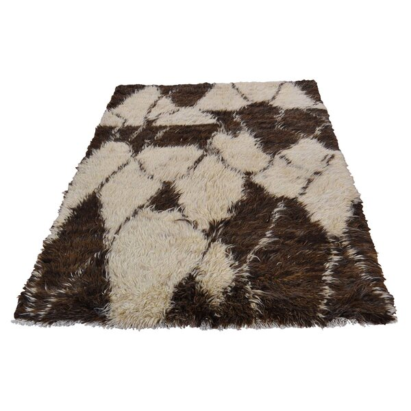 One-of-a-Kind Yasmine Plush Shaggy Hand-Knotted Chocolate Brown Area Rug by Bungalow Rose