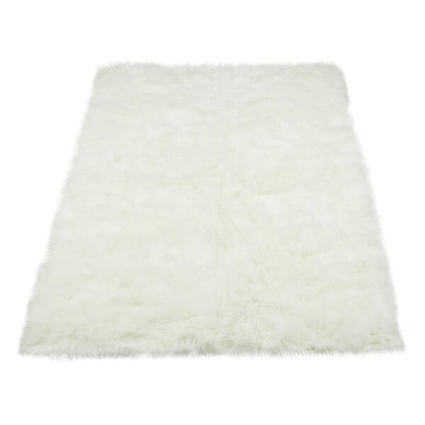 Darnell Faux Fur White Area Rug by Mercury Row