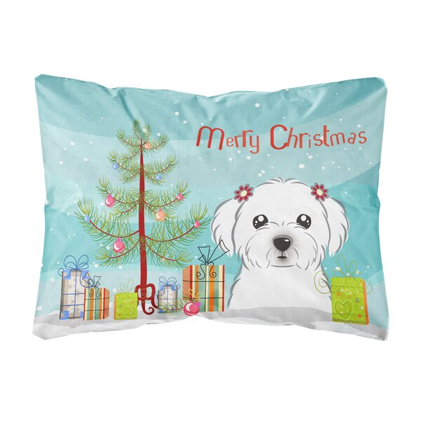 Heritage Christmas Tree and Maltese Fabric Indoor/Outdoor Throw Pillow by The Holiday Aisle