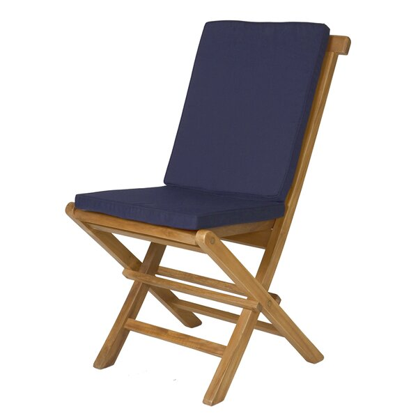 Humphrey Folding Teak Patio Dining Chairs with Cushion by Longshore Tides