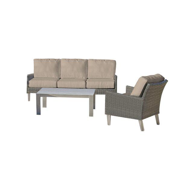 Macklin 3 Piece Deep Seating Group With Sunbrella Cushions By Ebern Designs by Ebern Designs New