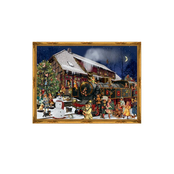 Sellmer Victorian Style Train Station Scene Advent Card by The Holiday Aisle