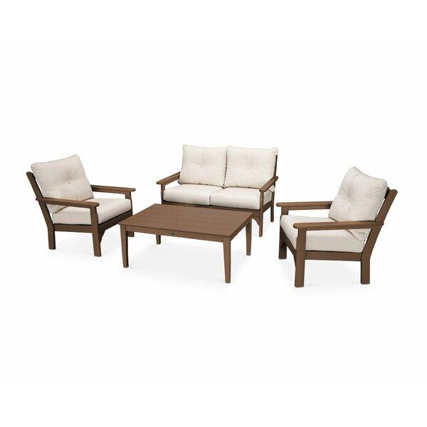 Vineyard 4 Piece Sunbrella Sofa Seating Group with Cushions by POLYWOOD®