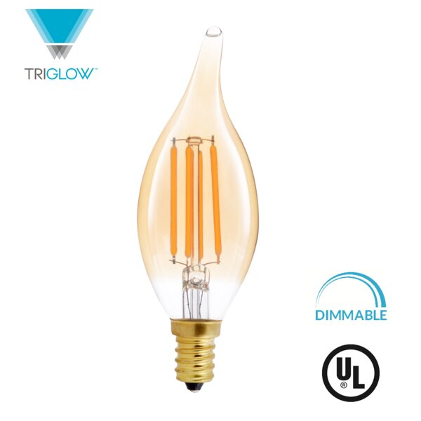 40W Equivalent Amber E12 LED Candle Edison Light Bulb by TriGlow
