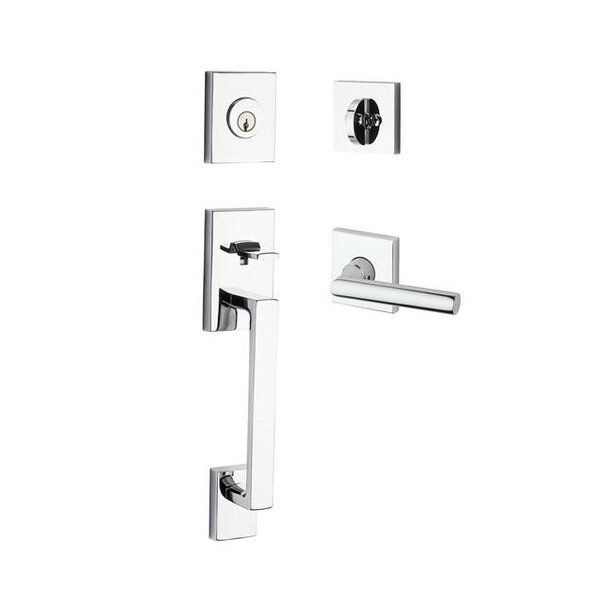 La Jolla Single Cylinder Handleset with Tube Door Lever Contemporary Square Rose by Baldwin
