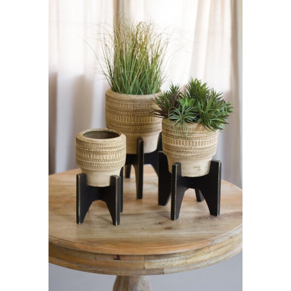 Owasso Round 3 Piece Clay/Wood Pot Planter Set by Bungalow Rose