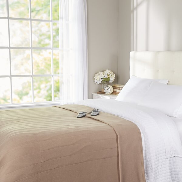 Quilted Fleece Heated Blanket by Sunbeam