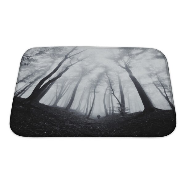 Nature Man Silhouette in Dark Spooky Misty Forest Bath Rug by Gear New