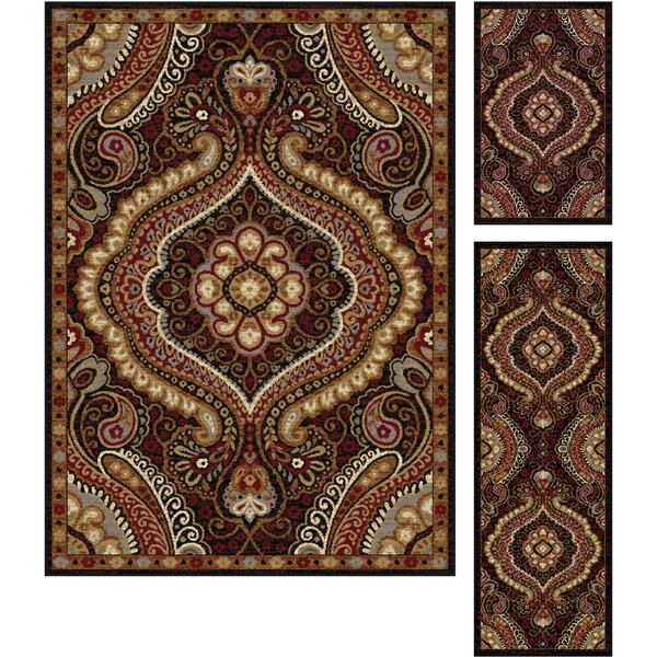 Hargrove 3 Piece Brown/Red Area Rug Set by Threadbind