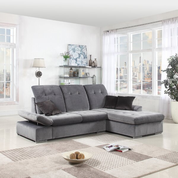 Hymel Right Hand Facing Two Tone Brush L-Shape Sectional by Latitude Run