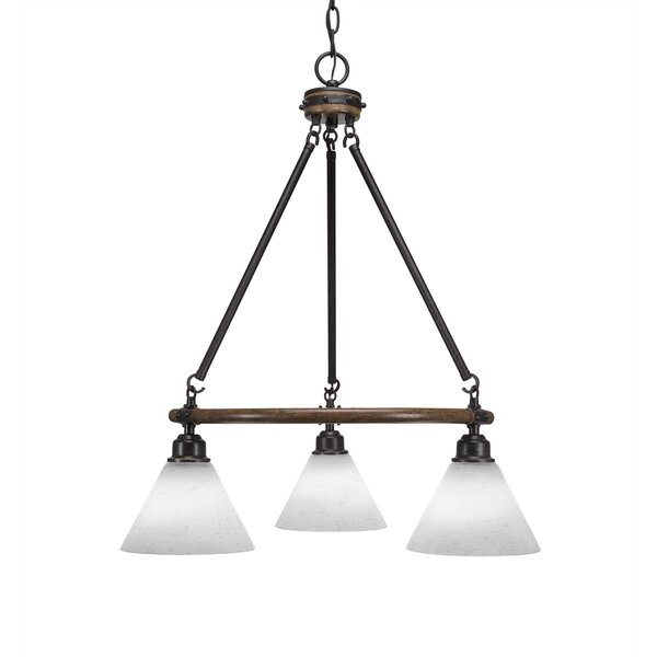 Pujari 3-Light Shaded Wagon Wheel Chandelier By Loon Peak