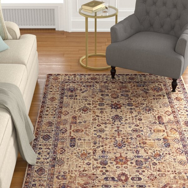 Ribeiro Taupe/Blue Area Rug by Charlton Home