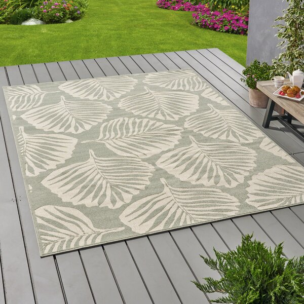 Weyland Floral Green/Ivory Indoor/Outdoor Area Rug by Bay Isle Home