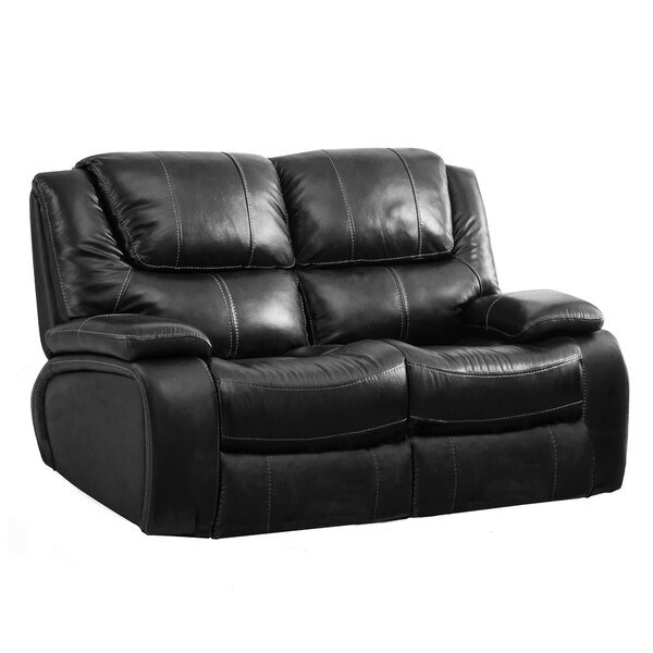 Hille Leather Reclining Loveseat by Red Barrel Studio