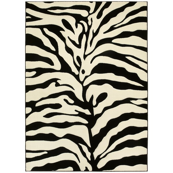 Animal Print Hand-Woven Black/White Area Rug by LYKE Home