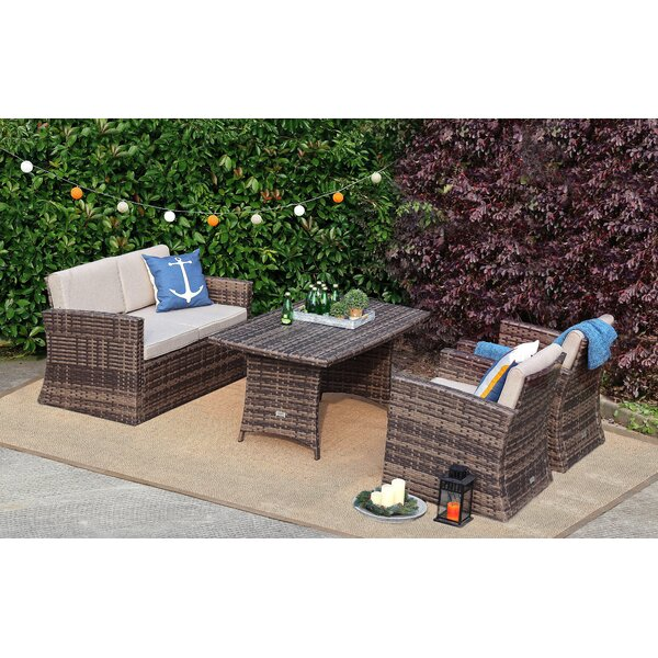 Sousa 4 Piece Rattan Sofa Seating Group with Cushions by Rosecliff Heights