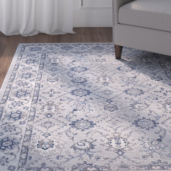 Salisbury Power Loomed Blue/Gray/Off-White Area Rug by Charlton Home