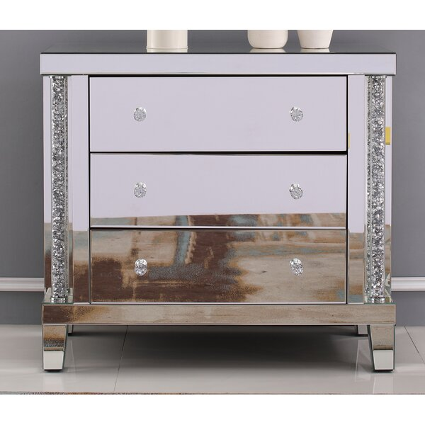 Dillan Crystal Cabinet 3 Drawer Bachelors Chest By Rosdorf Park by Rosdorf Park Spacial Price